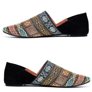 JEFFREY CAMPBELL Tribal FLATS slippers black GOLD